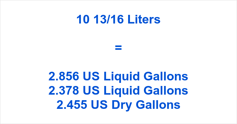 10 13/16 Liters to Gallons