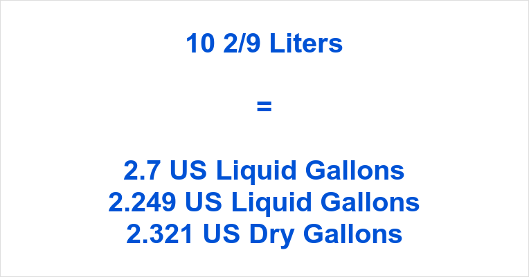10 2/9 Liters to Gallons
