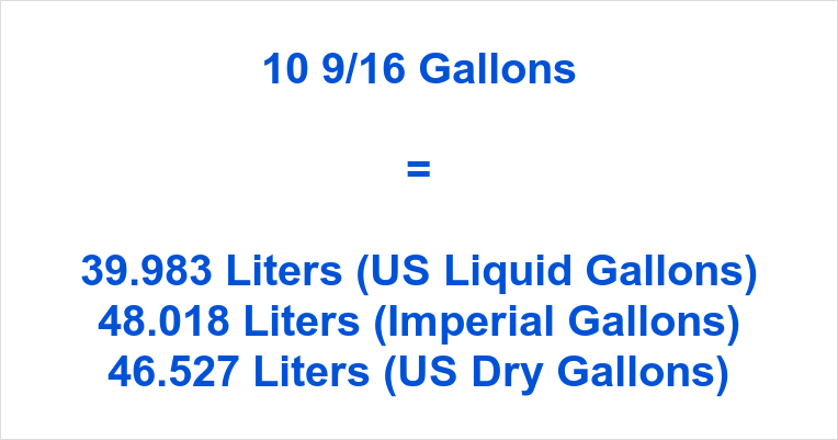 10 9/16 Gallons to Liters