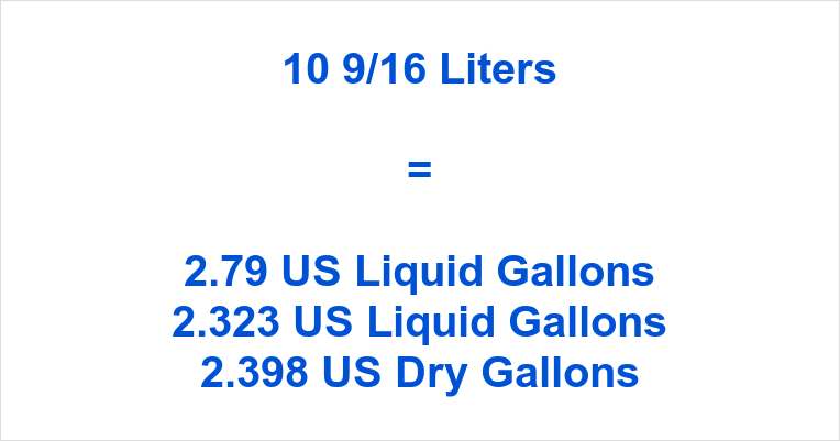 10 9/16 Liters to Gallons
