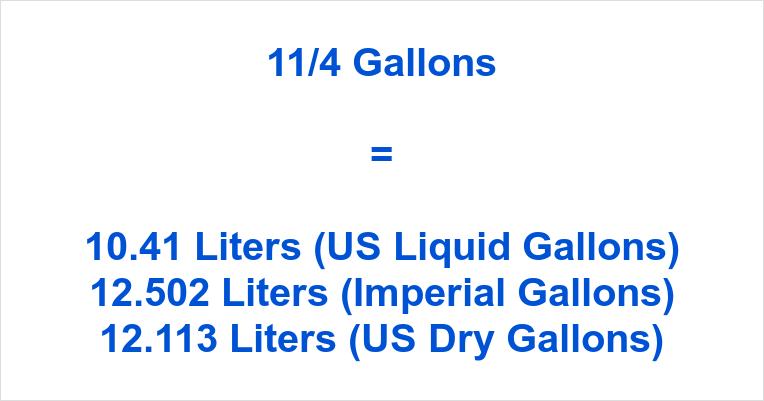11/4 Gallons to Liters