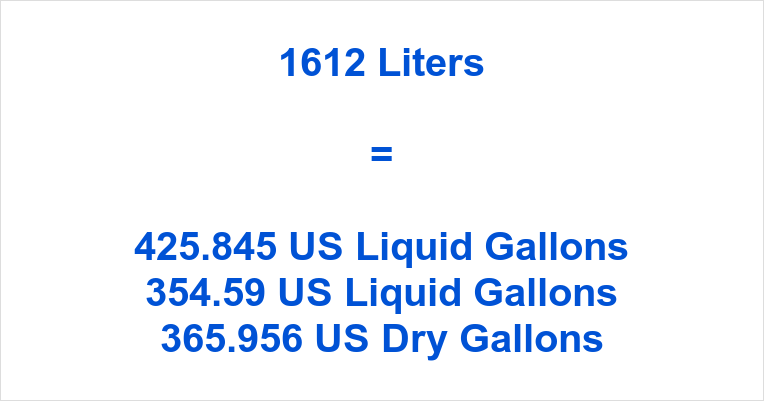 1612 Liters to Gallons