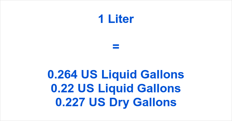 1 Liter to Gallons