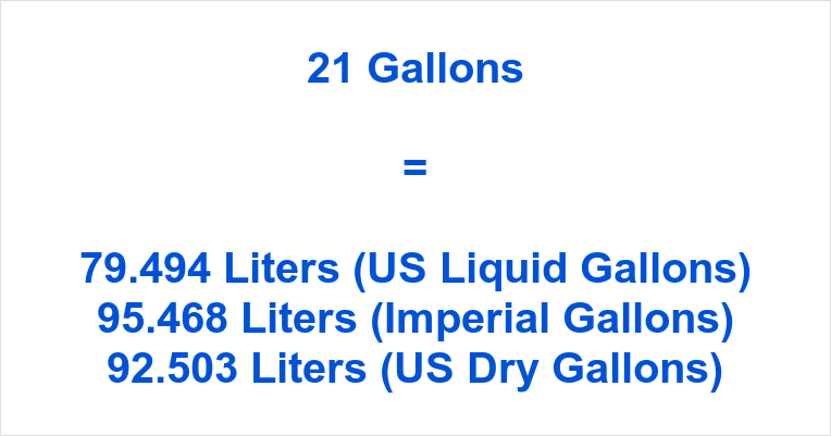 21 Gallons to Liters