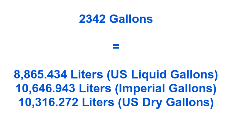 2342 Gallons to Liters