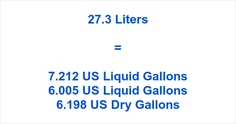 27 liters to gallons