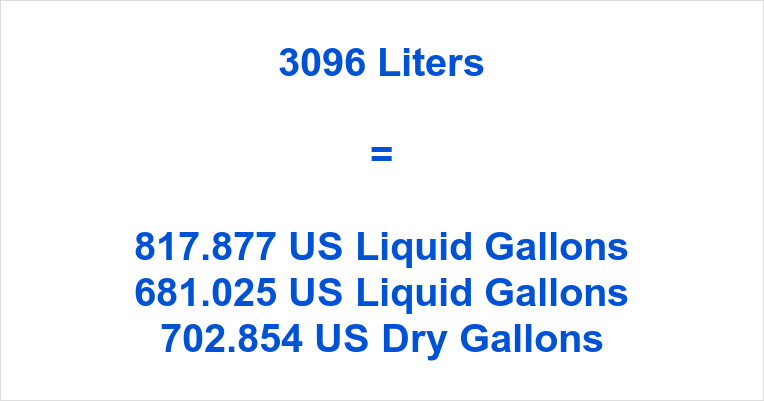 3096 Liters to Gallons