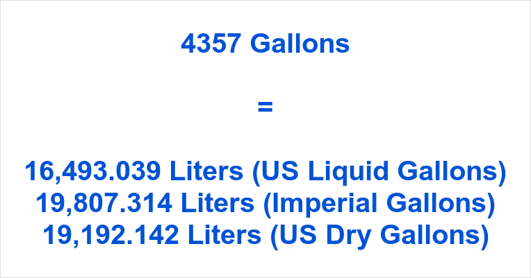 4357 Gallons to Liters