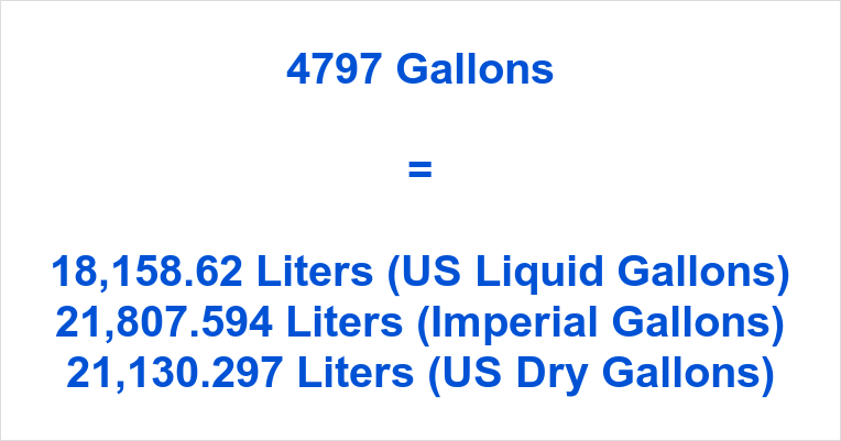 4797 Gallons to Liters
