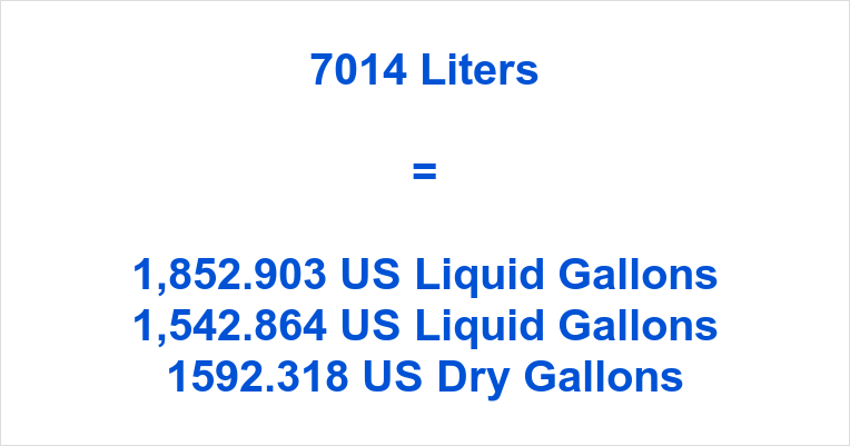 7014 Liters to Gallons