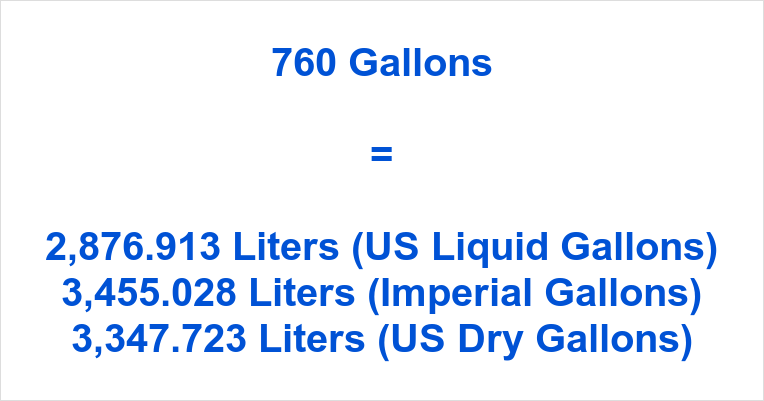 760 Gallons to Liters