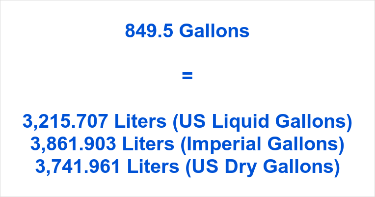 849.5 Gallons to Liters