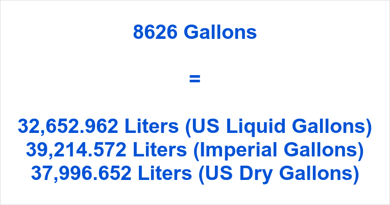 8626 Gallons to Liters