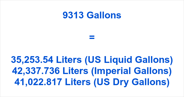 9313 Gallons to Liters