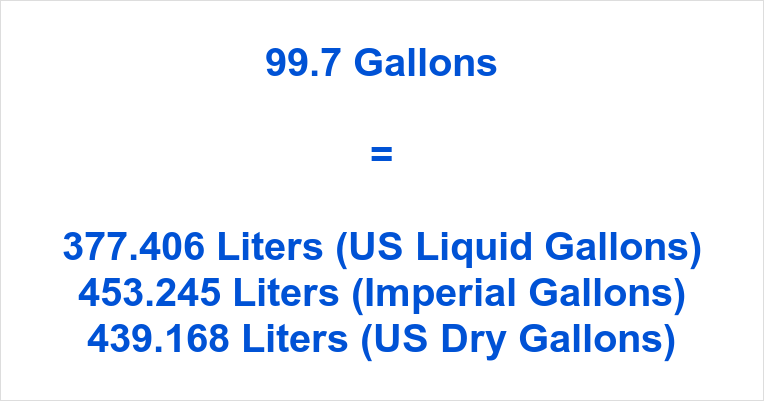 99.7 Gallons to Liters
