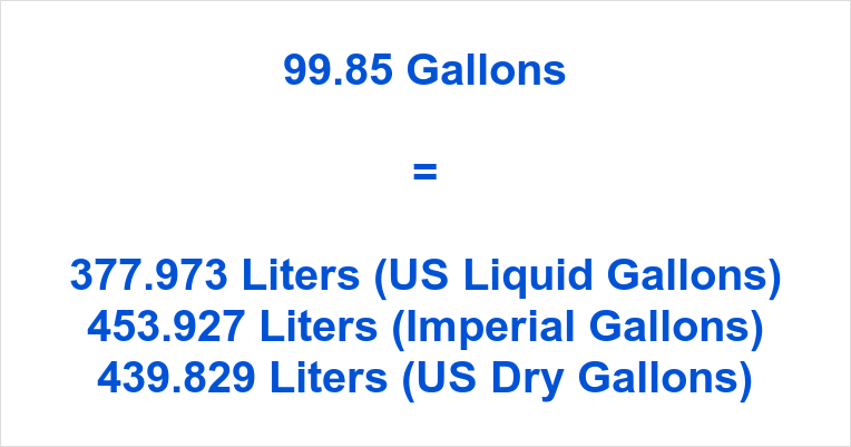 99.85 Gallons to Liters